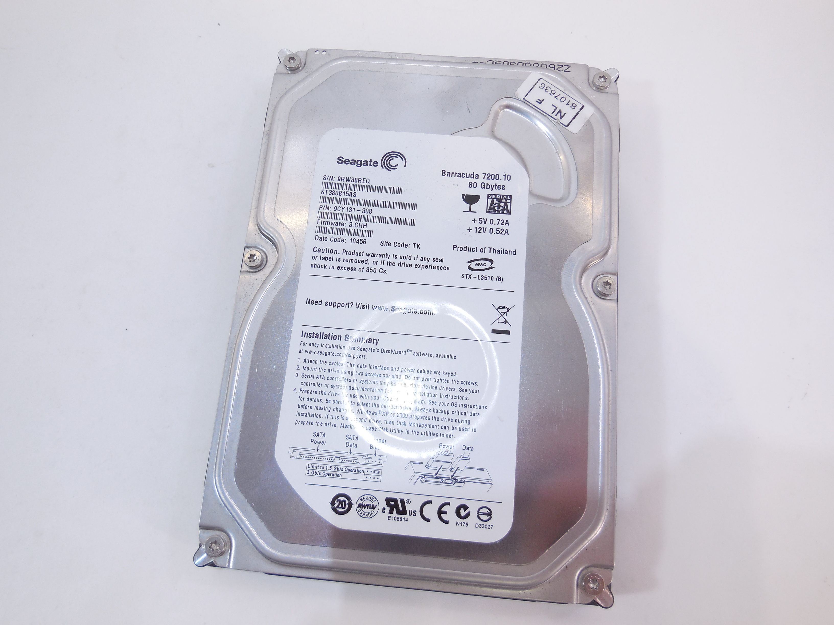 Жесткий диск HDD SATA 80Gb SeaGate Barracuda - Pic n 283077